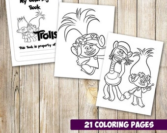 21 Trolls coloring pages instant download, Trolls coloring pages, Trolls coloring book, party activity, Trolls drawing book,instant download