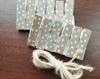 Artwork and Picture Clothesline - All Stars Chunky Little Clothespin Clips w Twine for Display - Set of 12 - Boy Baby Birthday