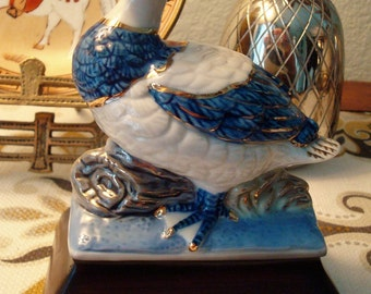 Vintage Blue & White Duck, Gold Accents Figurine - Great Vintage Condition!!