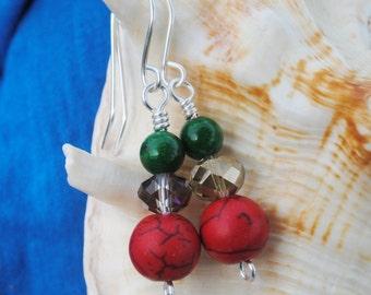 Christmas earrings; red and green bead earrings; holiday earrings; red stone earrings; Christmas jewelry; red green earrings; bead earrings
