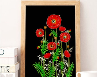 "Original Drawing - Poppy Flowers 2 - 16x20"" up to 24x34"" Art Print, Wall Decor, Illustration"
