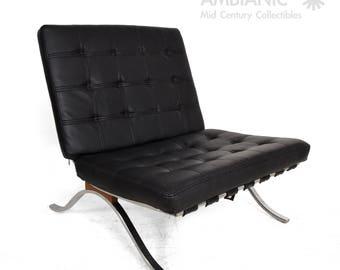 Mid Century Modern Selig Barcelona Chair Chrome And Naugahyde