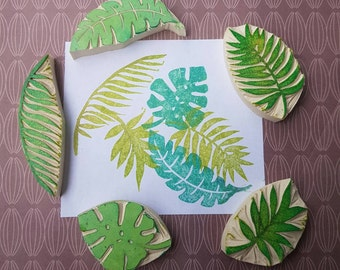 Palm Fronds and Ferns - Set of 5 - plants, rubber stamp, tropical, rain forest