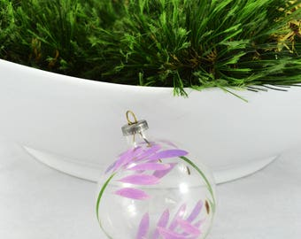 Vintage Unsilvered, Hand Painted Glass Ball Christmas Ornament, Clear Ornament Hand Painted Purple Flower Design