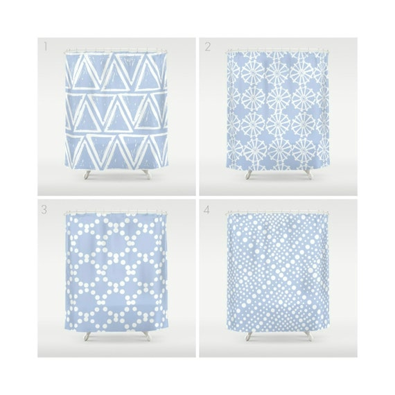 Periwinkle Shower Curtain - Geometric Shower Curtain - Modern Shower Curtain - Shower Curtain - Triangle Shower Curtain - Blue and White