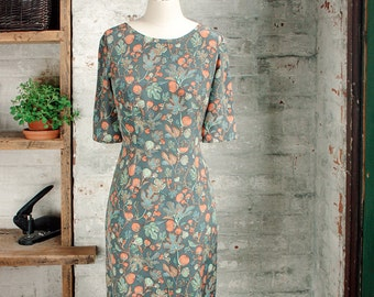 Amelie soie Liberty Print Dress - robe en soie - robe gris - robe imprimée botanique - genou longueur robe - robe Liberty of London
