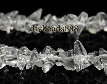 34 inch strand of Rock Crystal Quartz chips beads 5-8mm
