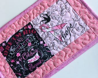 Mug rug, Pink and Black, encouragement, breast cancer, hope, dream big, small placemat, large coaster, mini quilt, small gift, candle mat