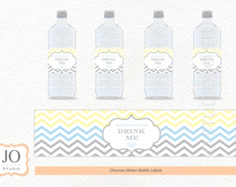 Chevron Themed Water Bottle Labels / for a Baptism / Christening / Birthday Party