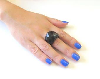 Statement Ring, Black Onyx Ring, Wide Band Ring, Healing ring, Faceted Gemstone Ring, Black Ring, Big Bold Ring, Dome Ring, Fashion Ring