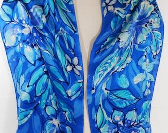 Scarf, Hand Painted Silk Satin Long Blue Floral Batik