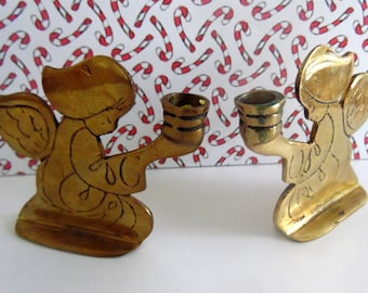 Pair of old Brass, ANGEL candle holders.