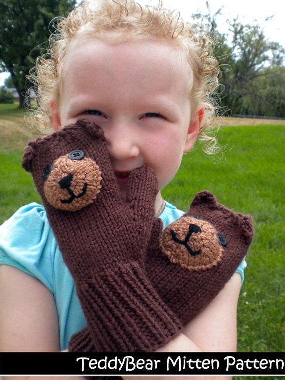 Teddy Bear Mittens For Children Knitting Pattern