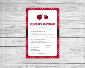 Ladybug Baby Shower Nursery Rhyme Game - Printable Baby Shower Nursery Rhyme Game - Ladybug Baby Shower - Nursery Rhymes Shower Game - SP140