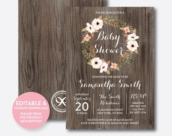 Instant Download, Editable Floral Baby Shower Invitation, Floral Invitation, Flower Baby Shower Invitation, Boho Rustic Baby Shower (FBS.02)