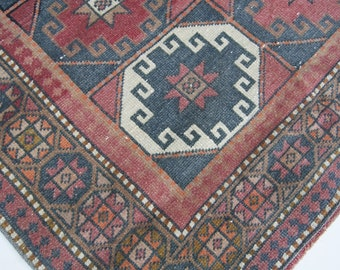 "5'6""x3'4"" Red and Blue Geometric Vintage Turkish Rug"