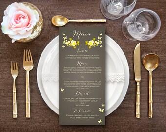 Yellow Butterfly Floral Printable Wedding Menu, Custom Wedding Menu Printable, Wedding Menu Template - Digital File, DIY Print WD40 WM13