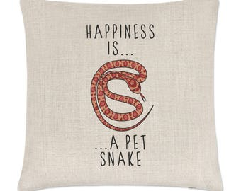 Happiness Is A Pet Snake Linen Cushion Cover