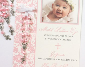 Damask Baptism favor cards with rosaries
