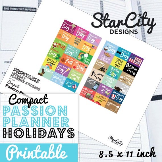 Printable Holiday Planner Stickers, Compact Passion Planner, Holiday  Printable Download, instant download, Holiday