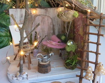 Fairy House by Olive, Fairy Cottage, Miniature Cottage ~ Fairy Bed and Fairy Painter's Easel, Faerie, Fae House