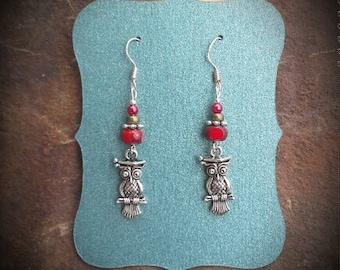 Red Owl Sterling Silver Dangle Earrings, Smart Red Green Owl Sterling Silver Dangle Earrings, Owl Earrings
