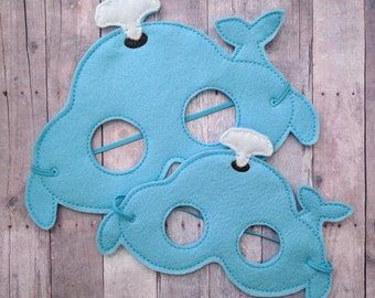 Whale Felt Mask in 2 Sizes, Elastic Back, Light Blue and White Acrylic Felt with Embroidery, Kids Halloween Costume, Photo Booth