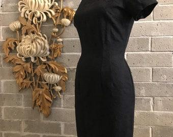 1950s dress vintage dress wiggle dress black dress cotton dress size medium black floral brocade dress fotted dress mad men dress 29 waist