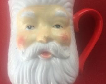 Large Vintage Santa Claus Head Ceramic Mug