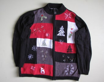 Vintage Ugly Christmas Sweater - Womens - 1X - Red, Black