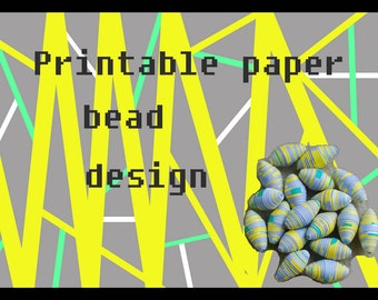 Paper bead sheet download. Make your own paper beads. Grey, yellow, white and mint. Rolled paper beads design. Paper beading. Paper beads.