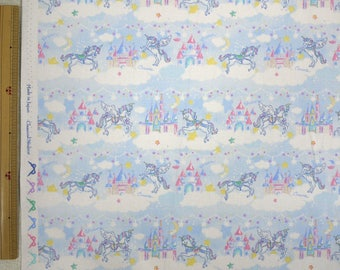 2018 Classical and Modern Japanese Fabric  / Unicorn Castle Light Blue - 50cm x 110cm