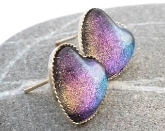 Rainbow Mist Earrings - Rainbow Heart Earrings - Heart Glitter Earrings - Hand Painted Earrings - Nail Polish Jewelry