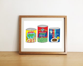 A5 illustration print - handrawn - food - kitchen - wall art - home decor - canned goods - illustrated - unicorn - framed print