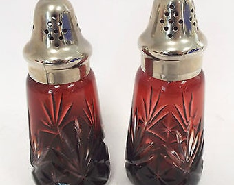 Gorgeous Vintage Cranberry Cut Glass Silver Plated Topped Sugar Sifters - Set of 2