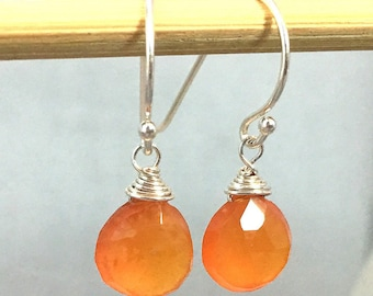 Small Carnelian Earrings .. Sterling Silver .. Handmade Jewelry .. Orange Carnelian .. Gemstone Earrings