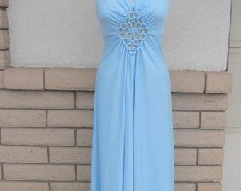 Vintage 70s Blue Draped Empire Waist Maxi Dress w/Bust Detail XS-S