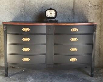 SOLD Black Dixie Dresser/Bedroom Furniture/Milk Paint Dresser/Dixie  Furniture