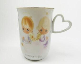 Precious Moments Mug, Forever Mine Vintage Enesco Mug 1978, Heart Shaped Handle Mug, Gift for Valentines, Precious Moments Collectible