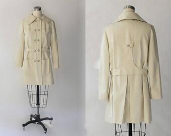 1960s Joseph Magnin Short Cotton Trench Coat // 60s Vintage Lightweight Khaki Single Breasted Jacket //
