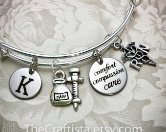 RNB, Personalized Nurse Bracelet With Initial, Personalized Nurse's Gift, RN Gifts, Caduceus Charm, RN Charm, Nurse's Adjustable Bangle,