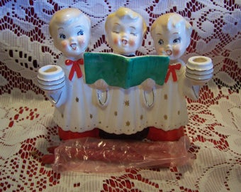 HTF Three Choir Boys Candleholders, Commodore, Japan