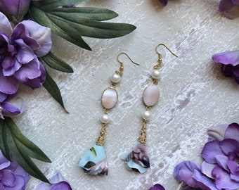 Unique Long Dangle Pastel Floral Tassel Statement Earrings Flower Pearl Gemstone Dangle Earrings Mothers Day Gift for Her Handmade Gold Bead