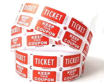 party supplies. carnival tickets. party decorations. paper ephemera. red. white. circus decor. craft supplies. double tickets. tickets. stub