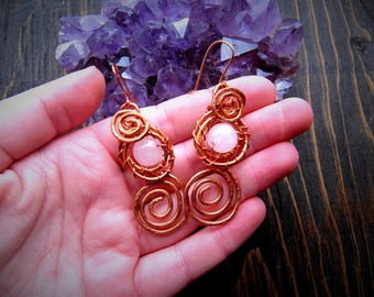Rose Quartz Spiral Earrings // Copper Jewelry // Wire Wrap // Gemstone // Wild Moon Child Designs //