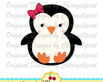 Baby penguin girl SVG DXF, Winter animal Silhouette Cut Files, Cricut Cut Files CHW37 -Personal and Commercial Use