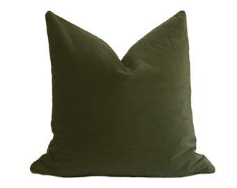 Olive Green Velvet Pillow Cover - Belgium Velvet - Olive Green Pillow - Dark Green Pillow - Velvet Pillow - Throw Pillow - Pillow Cover