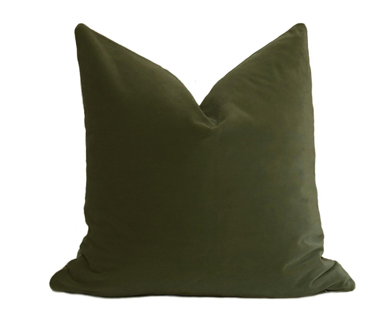 Olive Green Velvet Pillow Cover Belgium Velvet Olive Green