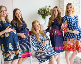 Moms in Navy Blue Abstract Prints, Maternity Robe, Delivery Robe, Labor Gown, Hospital Gown, Baby Shower Gift, Nursing Gown, Pregnancy Robe