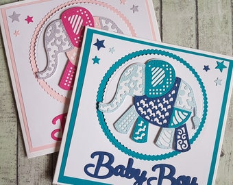 Patchwork elephant new baby handmade card